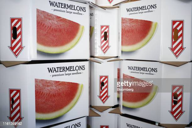 Cartons of watermelons sit in a packing shed at Frey Farms Inc in Poseyville Indiana US on Thursday Aug 1 2019 Overall the value of watermelon...