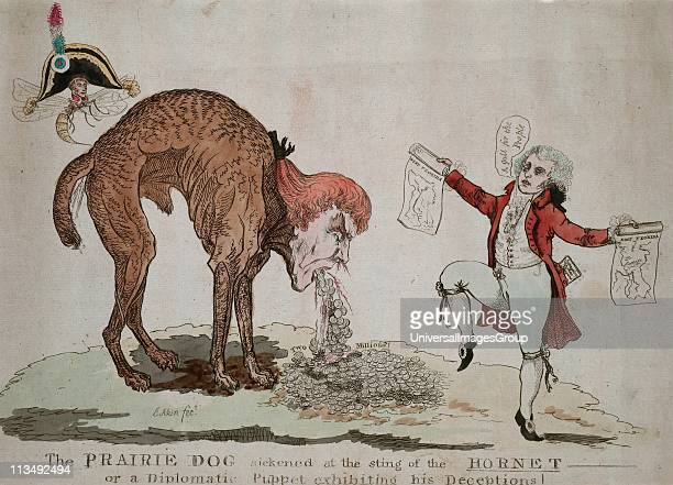 Cartoon against Thomas Jefferson's secret negotiations for US purchase West Florida from Spain Napoleon as a hornet stings Jefferson to reveal the...