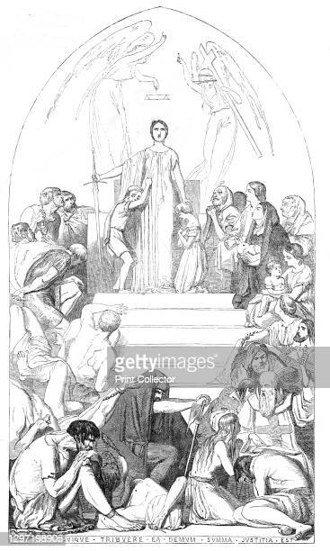 Cartoon An Allegory of Justice - by John Tenniel Jun. Prize £200 - from the exhibition in Westminster Hall, 1845. The allegorical figure of Justice...