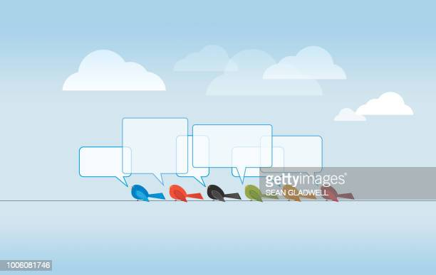 cartoon birds on wire - birdsong stock pictures, royalty-free photos & images