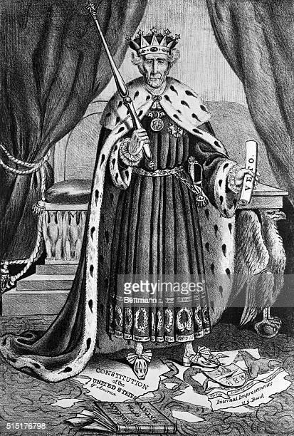 Cartoon branding Andrew Jackson as a dictator King Andrew I