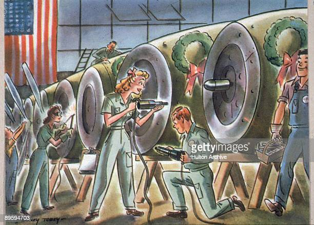 Cartoon by Bernard Tobey depicts men and women as they happily work together to build aircraft cowlings each of which is decorated with a Christmas...