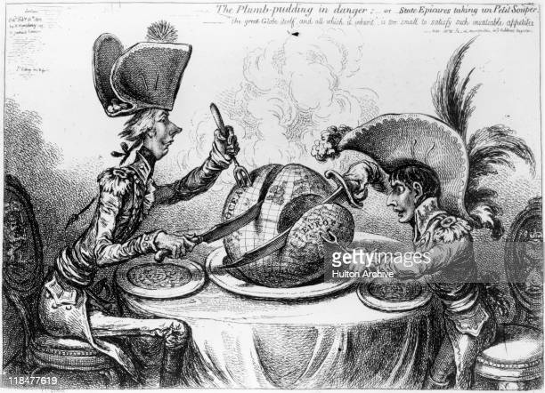 Cartoon by James Gillray captioned 'Plumbpudding in danger or State epicures taking un petit souper' depicting William Pitt sitting at a table with...