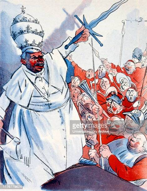 Cartoon by Jules Maurice Radiguet also known under the pseudonym Rad illustrator caricaturist and author French cartoon Depicting Pope Pius X