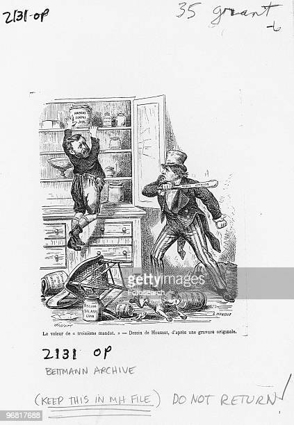 Cartoon By L. Houssot showing Uncle Sam taking a cudgel of public opinion to a thief in the kitchen reaching for the Habeas Corpus jam, circa 1880. .
