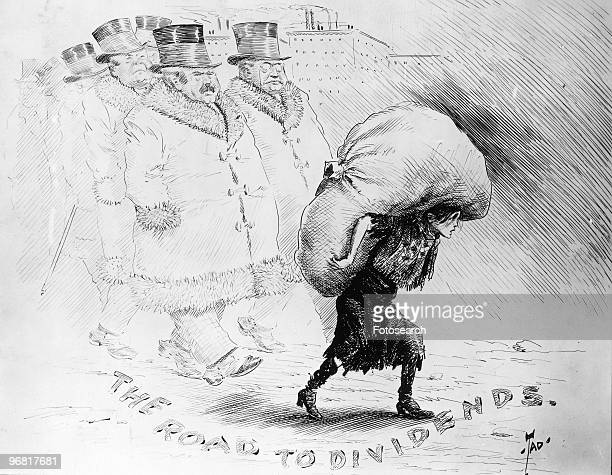 Cartoon By Tad showing a line of wealthy industrialists marching behind a bedraggled girl carrying a huge bundle subtitled 'The Road To Dividends'...