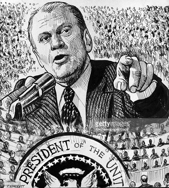 Cartoon by the African American cartoonist T Stockett, showing the President Gerald Ford amongst a sea of congressman, a political comment on the...