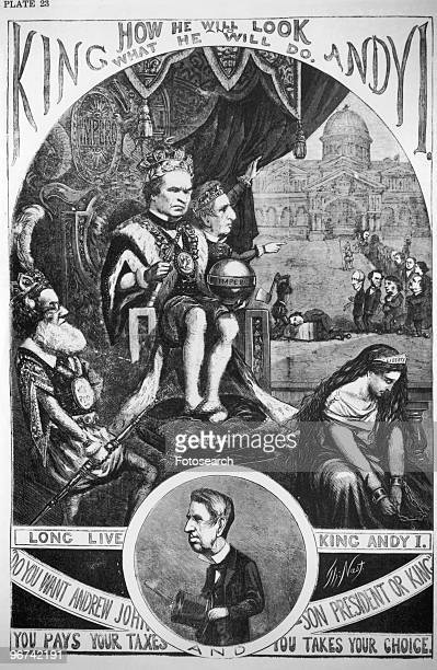 Cartoon by Thomas Nast 'King Andy' depicting Andrew Johnson as King with Secretary of State William H Seward as his grand vizier pointing to the line...