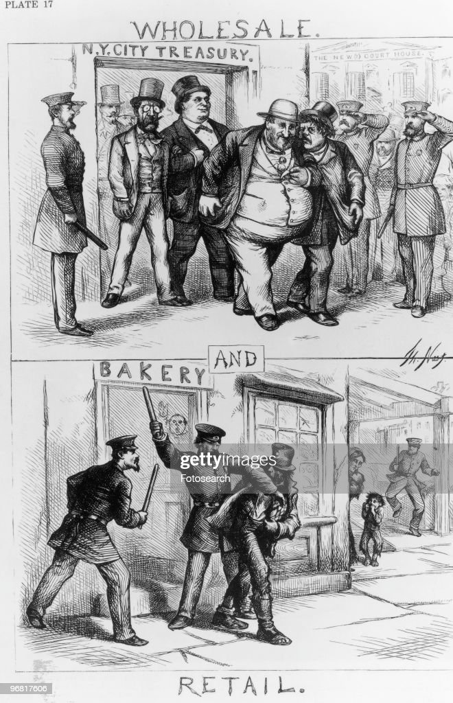 Cartoon By Thomas Nast Showing In Top Panel Boss Tweed