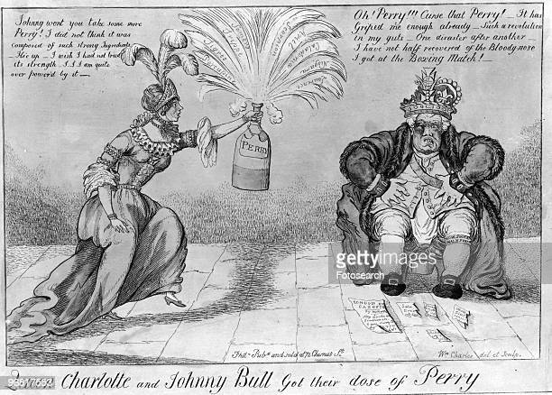 Cartoon By William Charles Of England's reaction to victory by Oliver Hazard Perry in the Battle Of Lake Erie showing Queen Charlotte Offering John...