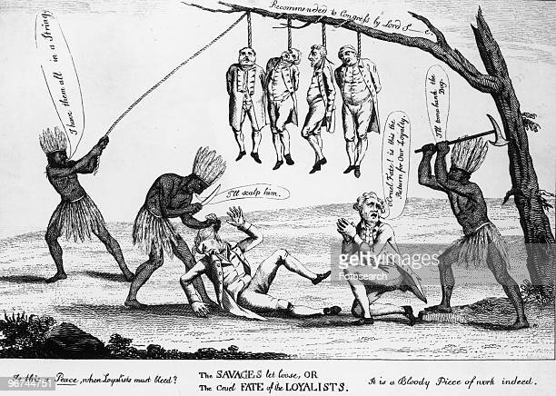 Cartoon by William Humphrey with the caption The Savages Let Loose or The cruel fate of the Loyalists' During the War for Independence more than...