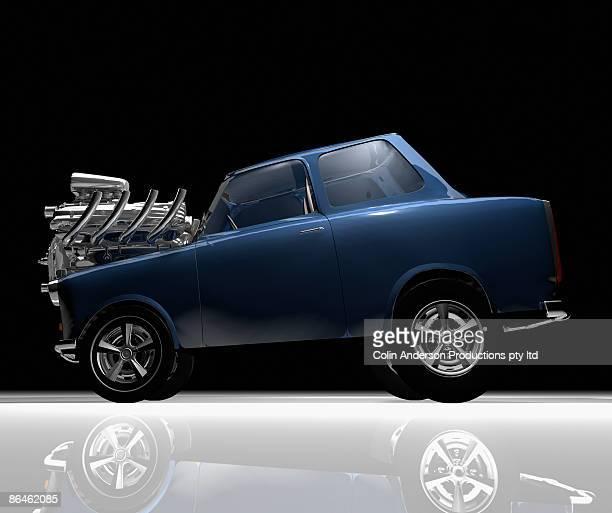 Cartoon car with engine on hood