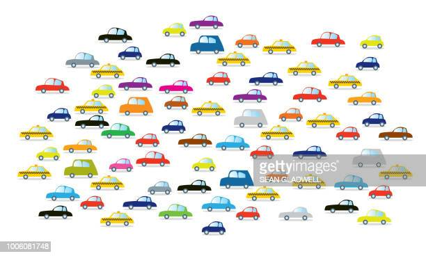 cartoon cars on white background - illustration stock pictures, royalty-free photos & images