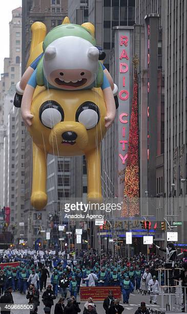 Cartoon character balloon floats for the the 88th Annual Thanksgiving Day Parade outside Macy's Department Store in Herald Square on November 27 2014...