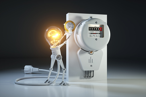 Cartoon character bulb light robot pays tariffs utility in kilowatt hour meter. 905674970