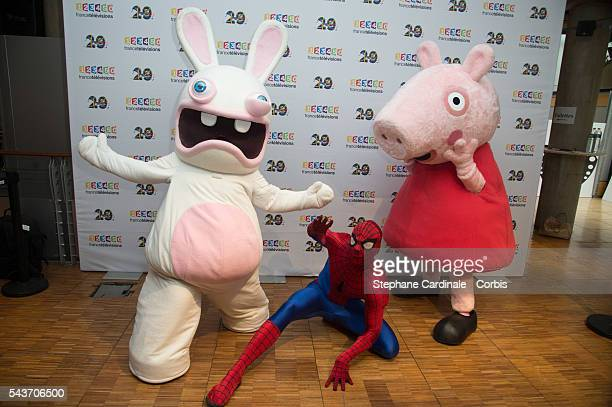 Cartoon characters Lapin Cretin Spiderman and Peppa Pig attend the France Television 2016/2017 Photocall on June 29 2016 in Paris France
