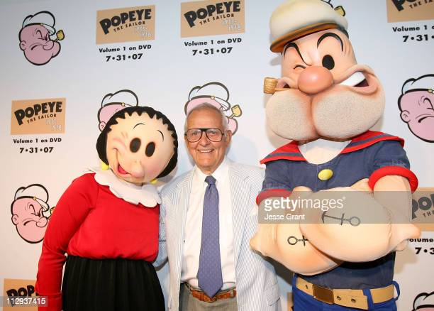 Cartoon characters olive Oyl and Popeye with actor Tom Hatten at The Popeye Volume One DVD Release at The Paley Center for Media on July 31, 2007 in...