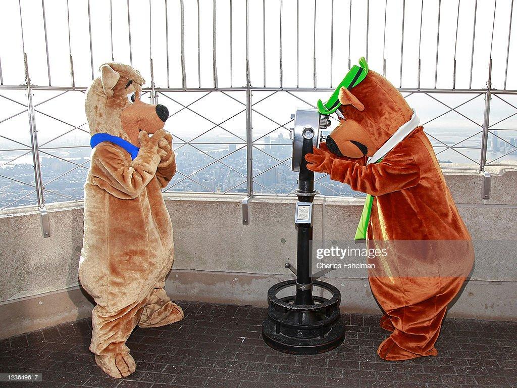 Cartoon characters Yogi Bear and Boo Boo visit the The