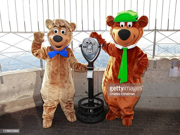 Cartoon characters Yogi Bear and Boo Boo visit the The Empire State Building on December 16 2010 in New York City