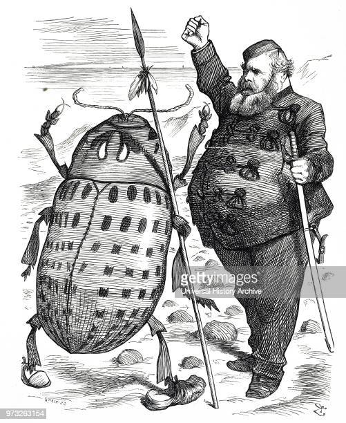Cartoon commenting on the fear of spreading the Colorado Beetle which was a major pest of potato crops Dated 19th century