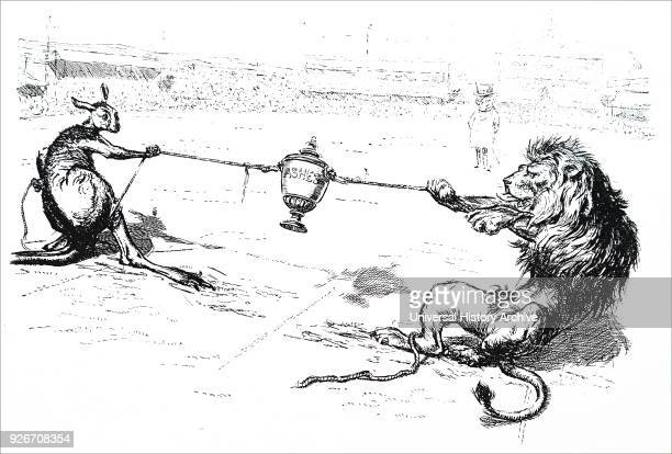Cartoon commenting on the fight for the Ashes between England and Australia Dated 20th century