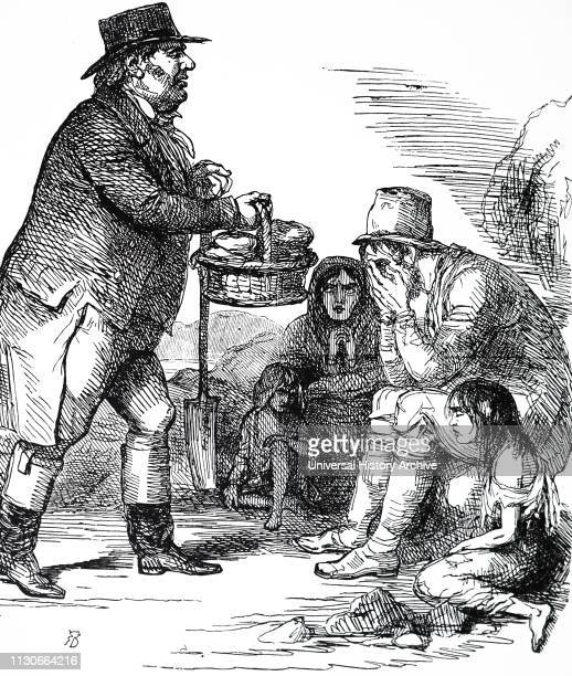 A cartoon commenting on the Irish Potato Famine England epitomised by John Bull taking bread to the starving Irish peasants The potatoes on which the...