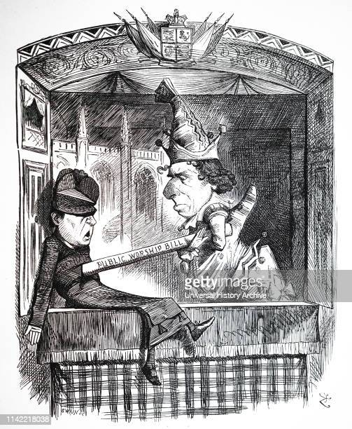 Cartoon commenting on the Public Worship Regulation Act. Illustrated by John Tenniel. Dated 19th century.