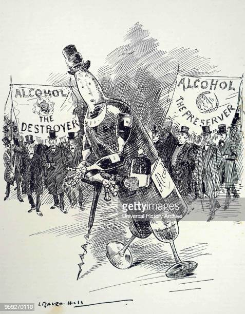 Cartoon commenting on the Temperance Movement. The Temperance movement is a social movement against the consumption of alcoholic beverages. Dated...