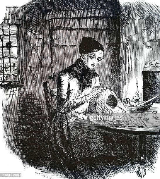 A cartoon commenting on the wretched condition of the poor needlewoman preparing garments for her more fortunate 'sister' Illustrated by John Leech...