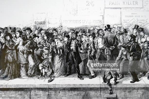 Cartoon depicting a chaotic state of Charing Cross Station Illustrated by Harry Furniss an artist and illustrator Dated 19th century