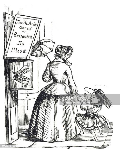 Cartoon depicting a child terrified by a dentist's advertisement Dated 19th century