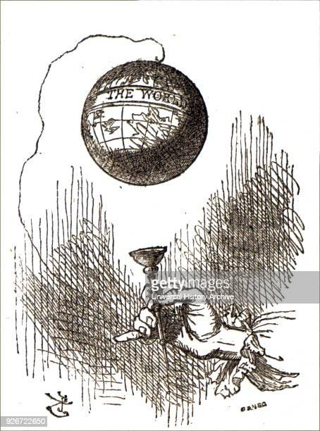 Cartoon depicting a cupandball a traditional children's toy Illustrated by John Tenniel an English illustrator graphic humourist and political...