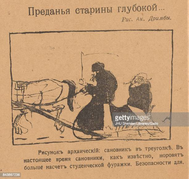 Cartoon depicting a dignitary in a horse drawn sleigh driven by a sleigh driver with the title 'A tale of the times of old' a quote from Alexander...
