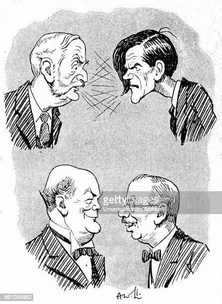 Cartoon depicting a dispute between George Lansbury , James Maxton , Douglas Hogg, 1st Viscount Hailsham and James Henry Thomas . Dated 20th Century.