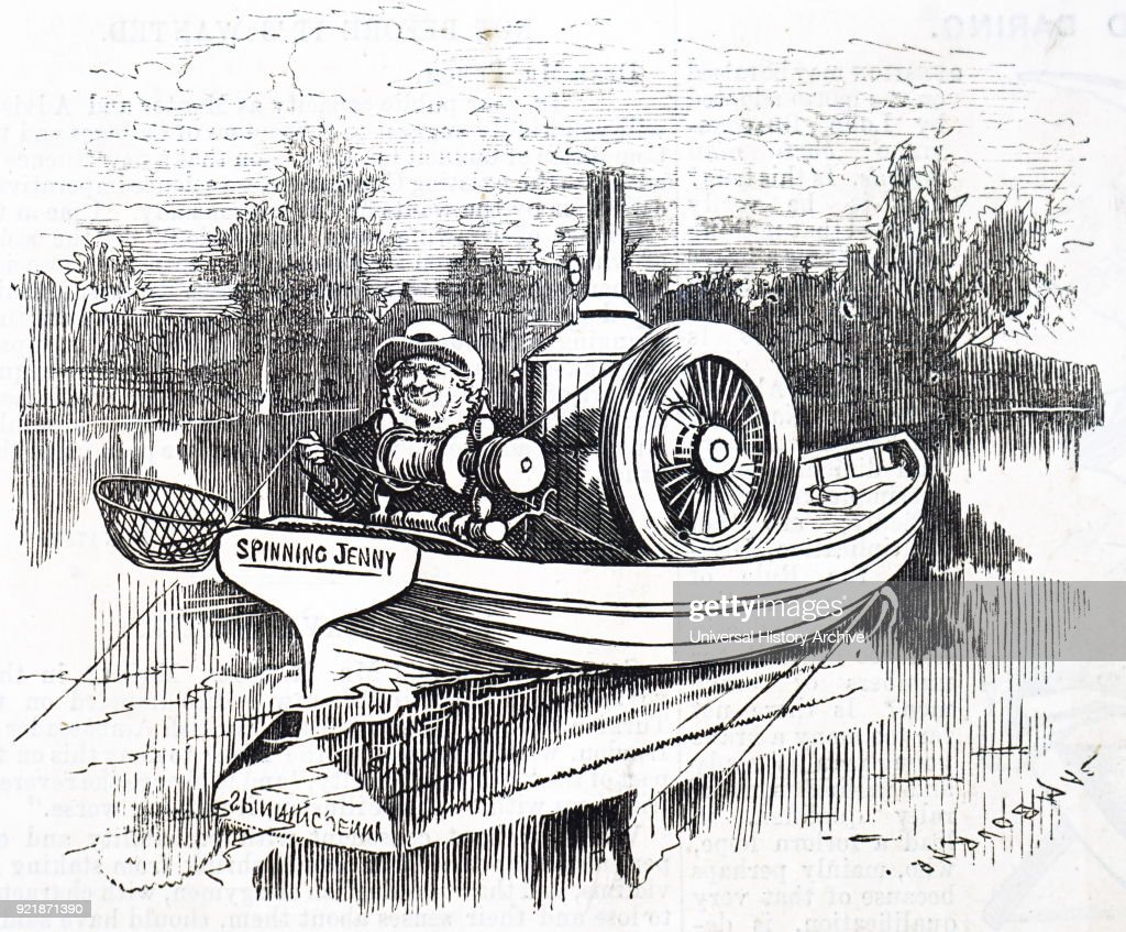 Cartoon depicting a fisherman using a steam boat to fish from. Dated 19th century.