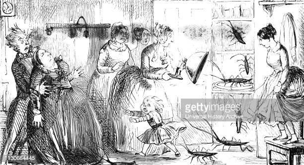 A cartoon depicting a house overrun by cockroaches and other insects Illustrated by John Leech an English caricaturist and illustrator Dated 19th...