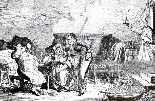 A cartoon depicting a man and a woman sampling the latest homebrew Illustrated George Cruikshank a British caricaturist and book illustrator Dated...