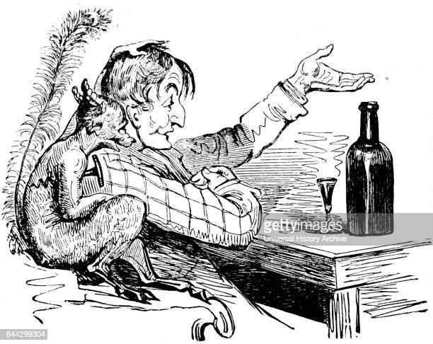 Cartoon depicting a man drinking gin with a demon Dated 19th Century