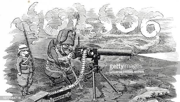 A cartoon depicting a Maxim gun a weapon invented by Hiram Stevens Maxim in 1884 Sir Hiram Stevens Maxim an Americanborn British inventor Dated 19th...
