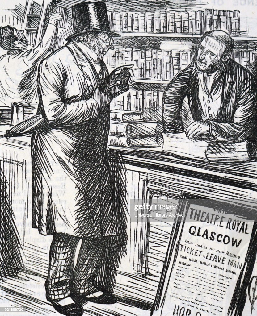 Cartoon depicting a misunderstanding about leather. Dated 19th century.