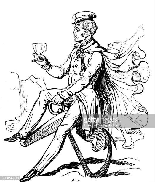 Cartoon depicting a sailor drinking Dated 19th Century