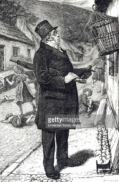 Cartoon depicting a tophatted man outraged by a pet starling disturbing the Sabbath by making the children laugh and shout at it's language...