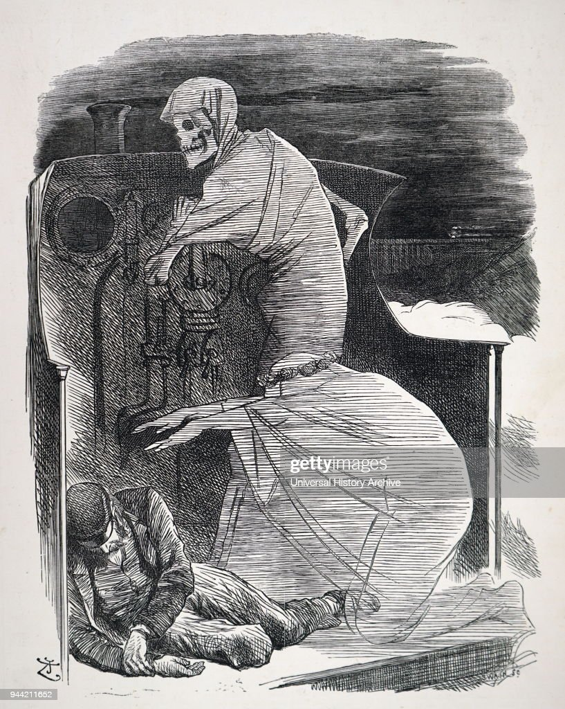 cartoon depicting a train conductor being taken by death the