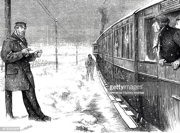 Cartoon depicting a train stranded due to bad weather conditions Dated 19th century