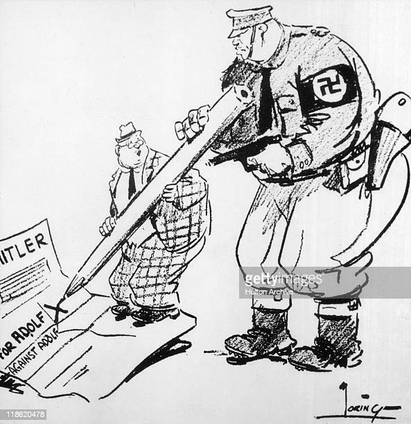 Cartoon depicting a uniformed Nazi officer pointing a gun at a voter who is holding a large pencil forcing him to mark his ballot paper in favour of...