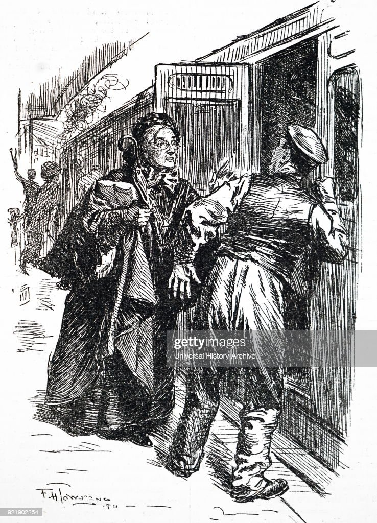 Cartoon depicting a woman asking staff at the railway station which train she needs. Dated 20th century.