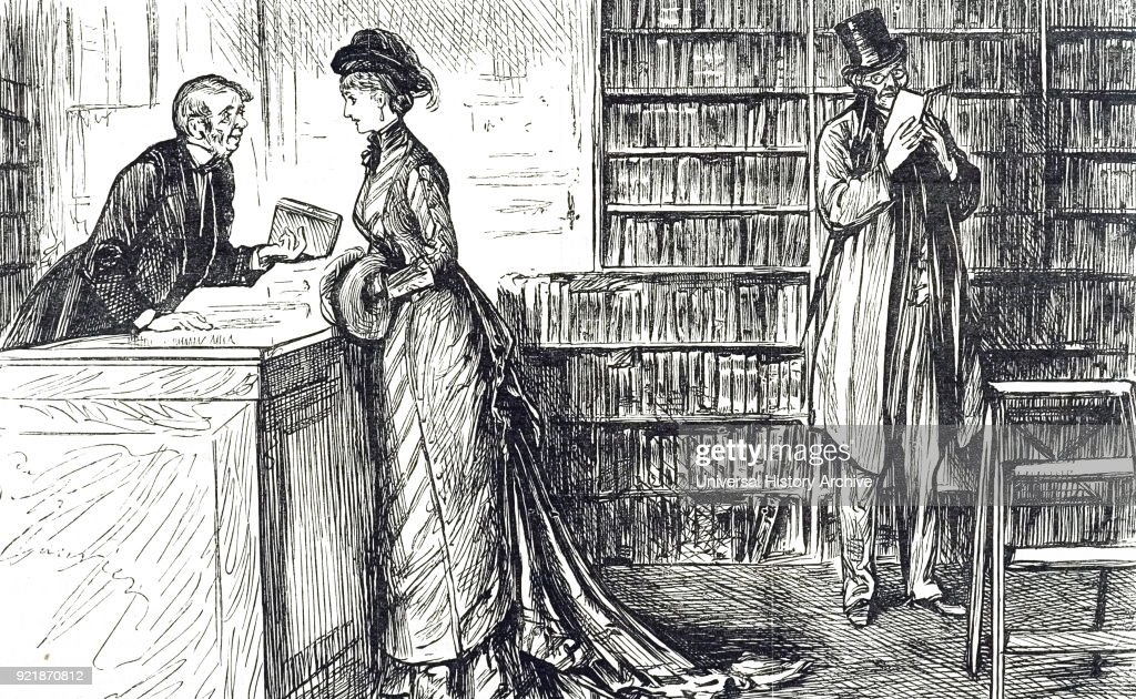 Cartoon depicting a woman shopping for a new book, by George du Maurier. George du Maurier (1834-1896) a Franco-British cartoonist and author. Dated 19th century.