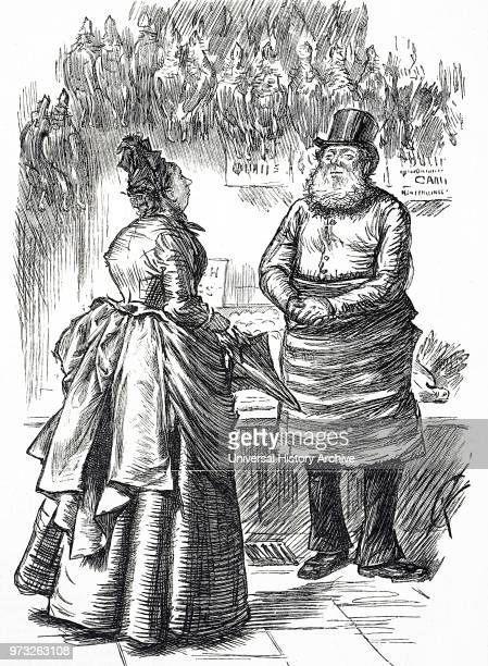 Cartoon depicting a woman speaking with her butcher Dated 19th century