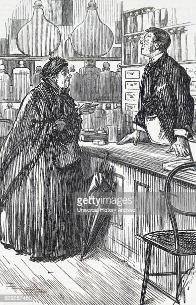 Cartoon depicting a woman trying to buy a thermometer from the local chemist Dated 19th Century