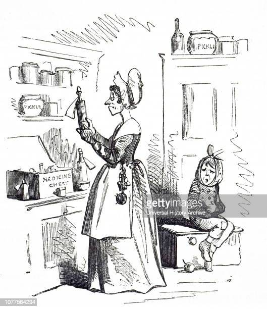 A cartoon depicting a woman using magnesium as medicine to cure the child's ailments Dated 19th century
